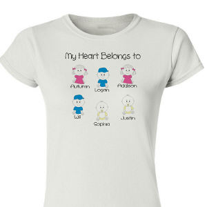 Personalized My Heart Belongs to Family Womens T-Shirt