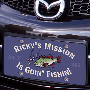 Fishin' is my Mission License Plate