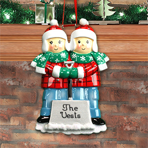 Personalized Snow Shovel Couple Ornament M1073855