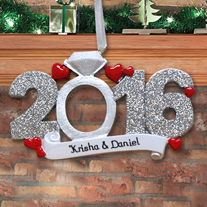 Personalized 2016 Engagement Ornament