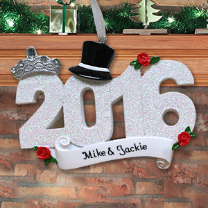 Personalized Wedding 2016 Ornament