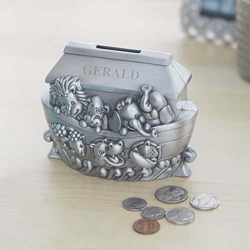 Engraved Noah's Ark Pewter Bank | Personalized Baby Keepsakes