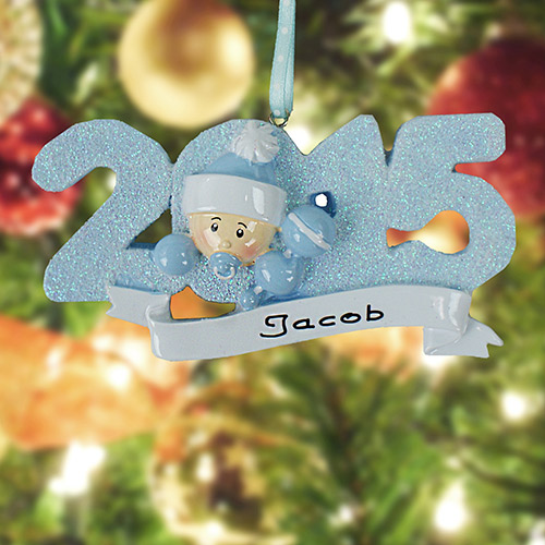 Personalized 2015 Baby Boy Ornament