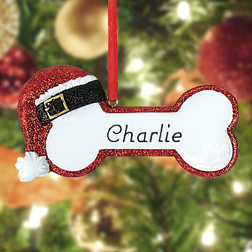 Personalized Red Santa Bone Ornament