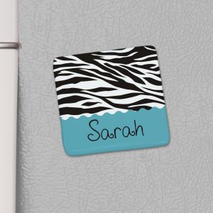 Personalized Zebra Print Kitchen Magnet