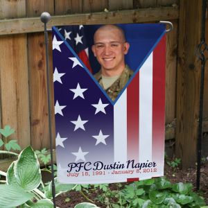 Personalized Military Pride Memorial Photo Garden Flag | Personalized Memorial Garden Flags