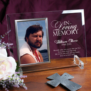 Engraved Memorial Beveled Glass Picture Frame