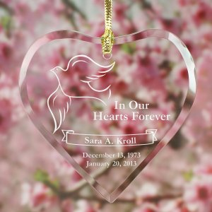 Engraved Memorial Heart Suncatcher
