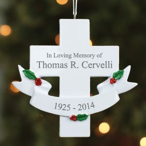 Engraved In Loving Memory Cross Ornament