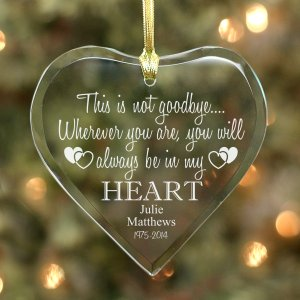 Engraved Memorial Heart Glass Ornament