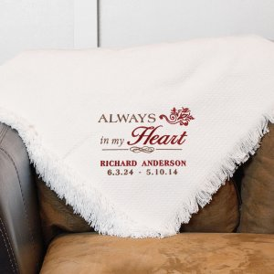Embroidered Memorial Throw Blanket