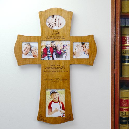 Engraved Wooden Photo Cross L7377104
