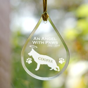Engraved Dog Memorial Tear Drop Ornament