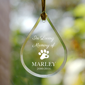 Engraved Pet Memorial Teardrop Ornament