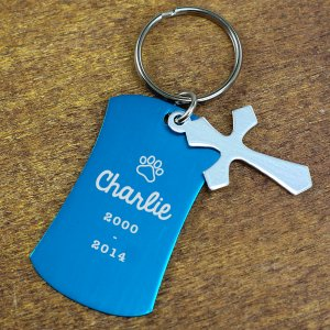 Engraved Pet Memorial Charm Key Chain L80941X