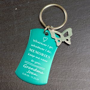 Engraved Memorial Charm Key Chain