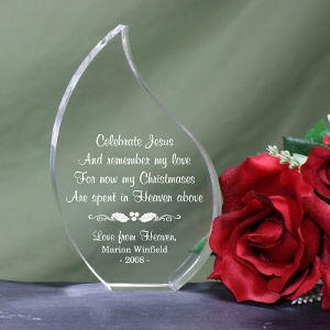 Personalized Christmas In Heaven Memorial Tear Keepsake