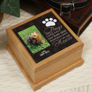 Personalized Pet Photo Wooden Memorial Urn U659553