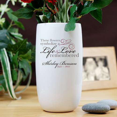 Personalized Ceramic Life and Love Memorial Flower Vase | Memorial Gifts