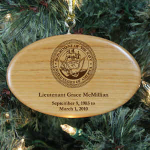 Engraved U.S. Navy Memorial Wooden Oval Ornament | Personalized Military Christmas Ornaments