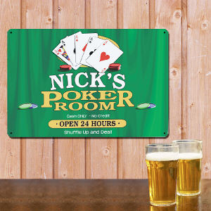 Personalized Poker Room Metal Wall Sign