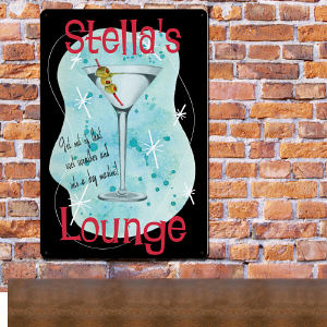 Personalized Martini Lounge Metal Wall Sign