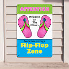 Personalized Flip Flop Zone Metal Wall Sign