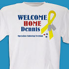 3 Star Yellow Ribbon Welcome Home Personalized Military T-shirt