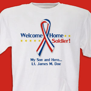 Red, White and Blue Ribbon Personalized Military T-shirt