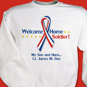 Red, White and Blue Ribbon Personalized Military Sweatshirt