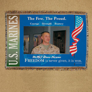 Personalized U.S. Marines Photo Tapestry Throw Blanket