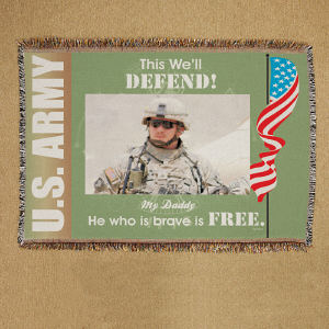 Personalized U.S. Army Photo Tapestry Throw Blanket