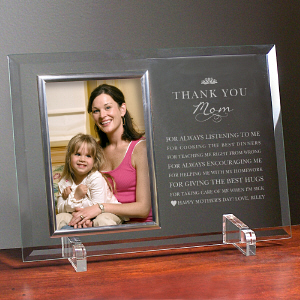 Engraved Thank You Mom Glass Frame