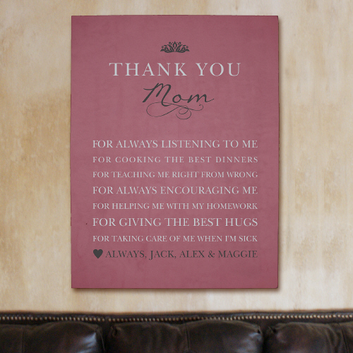 Personalized Thank You Mom Wall Canvas 917576