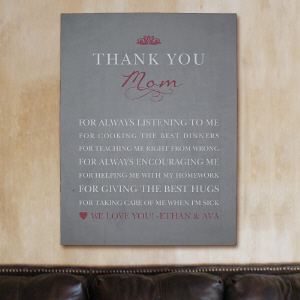 Personalized Thank You Mom Wall Canvas | Personalized Mother's Day Gifts
