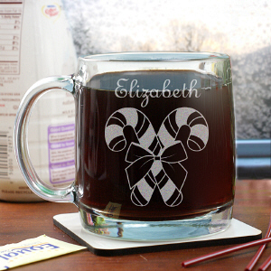 Engraved Candy Cane Glass Mug