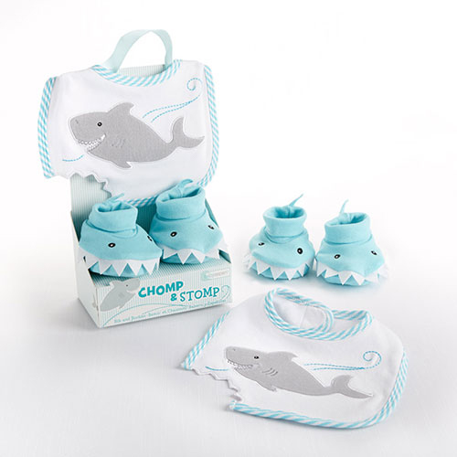 Chomp and Stomp Bib and Booties Set | Personalized Baby Gifts