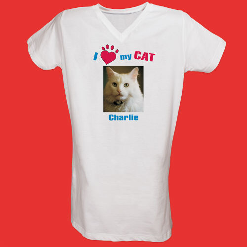 I Love My Cat Personalized Photo Nightshirt