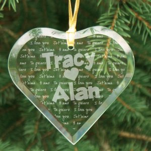Engraved I Love You Glass Heart Ornament
