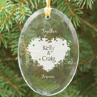 Together Forever Valentine Personalized Oval Glass Ornament