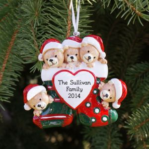 Personalized Teddy Bear Family Christmas Ornament