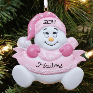 Personalized Snowbaby Girl Christmas Ornament