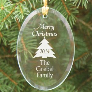 Merry Christmas Personalized Glass Ornament