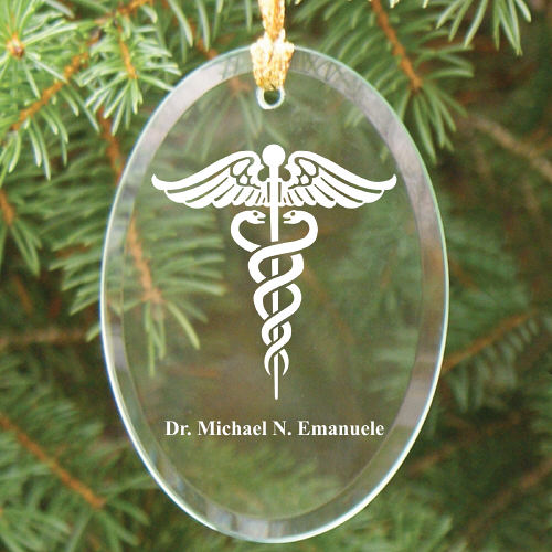 Medical Engraved Oval Glass Ornament | Medical Christmas Ornaments