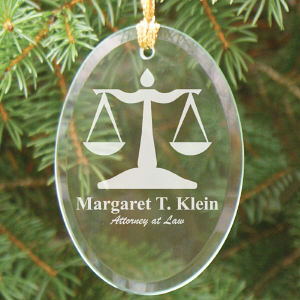Lawyer Engraved Oval Glass Ornament