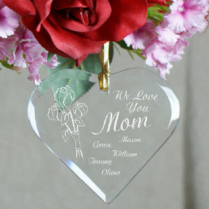 Personalized Heart of Love Glass Ornament