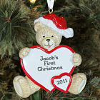 Baby's 1st Christmas Personalized Bear and Heart Ornament