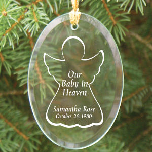 Engraved Baby In Heaven Oval Glass Ornament