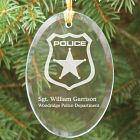 Police Officer Engraved Oval Glass Ornament
