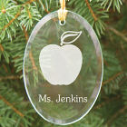 Teacher Engraved Oval Glass Ornament